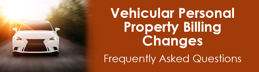 Vehicular Personal Property billing changes FAQs banner
