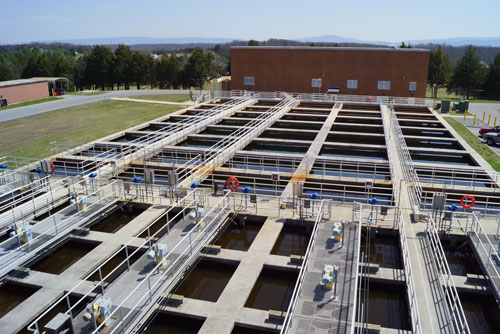 Filtering basins at the water treatment plant