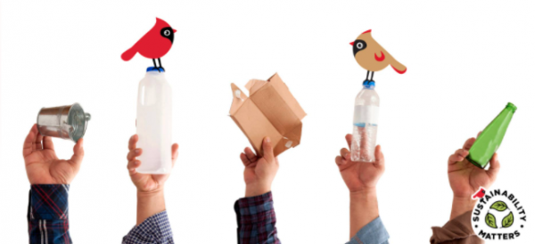 Hands holding recycling materials with birds sitting on top and the Sustainability Matters logo