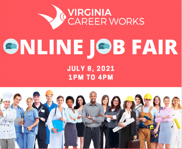 Virtual Job Fair add with a photo of a large group of people